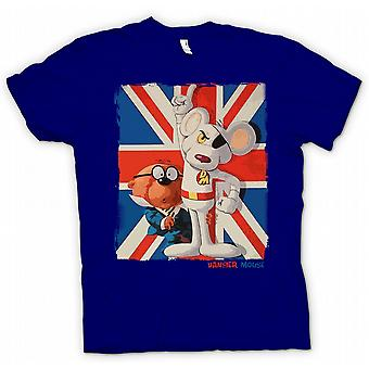 Kids T-shirt - Danger Mouse and Penfold - Union Jack - Retro