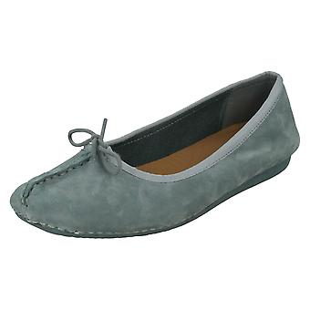 Ladies Unstructured By Clarks Ballerina Flats Freckle Ice 17 - Blue Grey Nubuck - UK Size 7D - EU Size 41 - US Size 9.5M