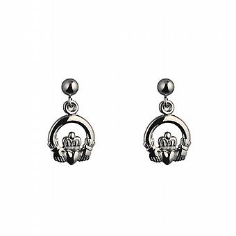Silver 9mm dropper Claddagh Earrings