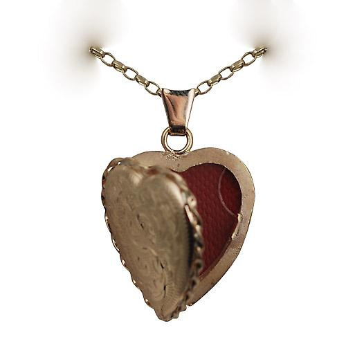 9ct Gold 23x21mm engraved twisted wire edge heart shaped Locket with a belcher Chain 16 inches Only Suitable for Children