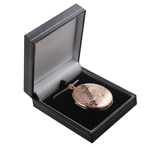 9ct Rose Gold 45x35mm hand engraved oval Locket with Belcher chain
