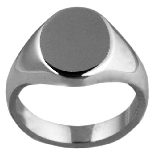 Platinum 950 13x10mm solid plain oval Signet Ring Size S