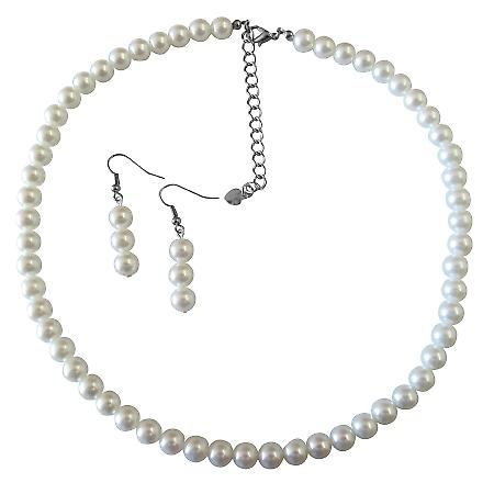 Pure White Jewelry Necklace & Earrings White Pearl Necklace Set For All Ocassion Jewelry