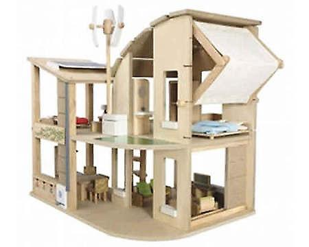 PLAN TOYS - 'Green' Doll's House with 5 rooms of Furniture