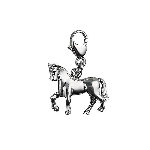 Silver 13x15mm unsaddled Horse Charm with a lobster catch