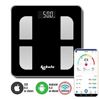 Kabalo Bluetooth Black 180kg Capacity Electronic Digital Multi-Function BODY FAT Composition Water Muscle Bone Calories BMI Analyser, Batteries Included! Stylish Premier Bathroom Scale, Wireless with blue backlight
