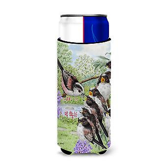 Long Tailed Tits Ultra Beverage Insulators for slim cans
