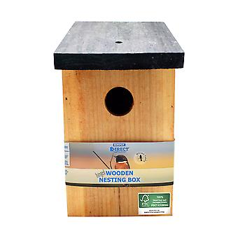 1 x Simply Direct Pressure Treated Wooden Bird House Nesting Box SDBF017FSC - Hecho con madera 100% FSC, bosques sostenibles respetuosos con el medio ambiente