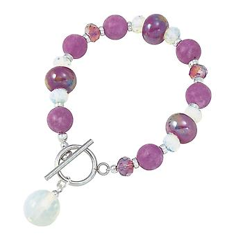 Eternal Collection Harmony Orchid Jade And Crystal Ceramic Beaded Bracelet