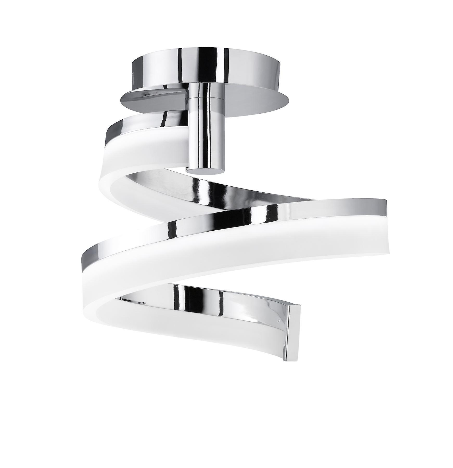 Wofi Fare - Dimmable LED 1 Light Flush Plafond Lumière Chrome - 9032.01.01.5000