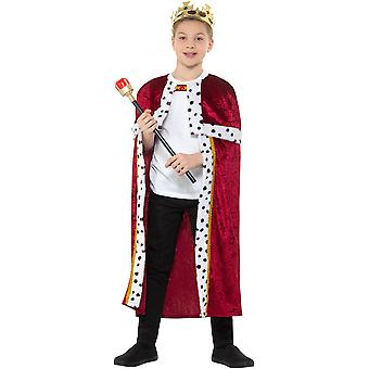 King Set Bambini Unisex Cloak Scettro Corona Regina Carnevale Accessorio Re Regina Kit Costume Costume Bambini Costume