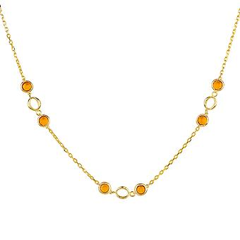Lien Gemstone Necklace Gold Citrine Yelloe Wedding Bridesmaid Chain 925