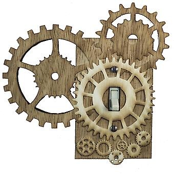 Steampunk switch plate - raw wood - 6.7