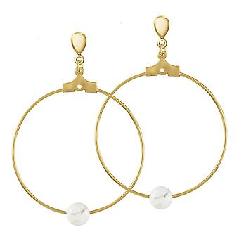 Eternal Collection Stylistic White Howlite Gold Tone Drop Hoop Clip On Earrings