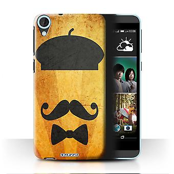 STUFF4 Case/Cover for HTC Desire 820q Dual/Beret Hat/Retro Moustache