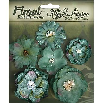Floral Embellishments Mixed Blooms 6 Pkg Blue Green P1279 190