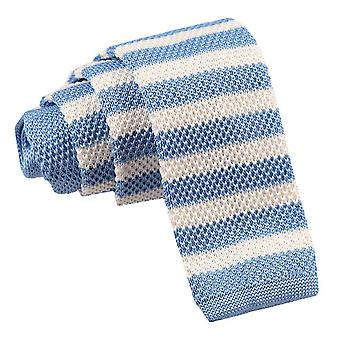 Pale Blue & White Striped  Knitted Skinny Tie