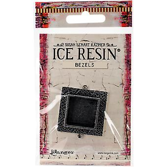 Ice Resin Milan Bezels Closed Back Square Medium-Antique Silver IRB50803