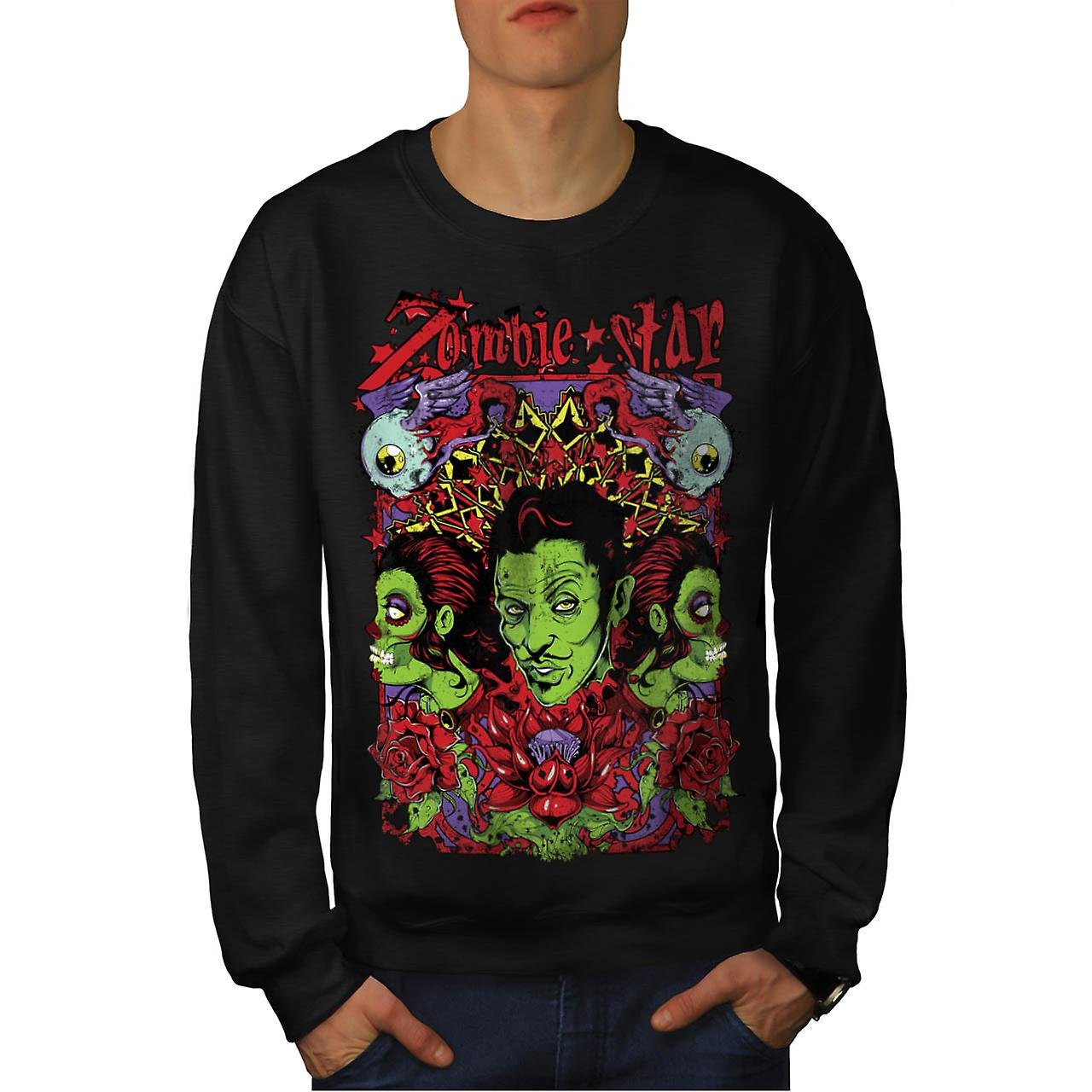 Zombie Star Group Wax Eye Angel Men Black Sweatshirt | Wellcoda