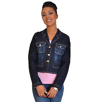 Ladies Womens Dark blu indaco Blazer stile Denim Jacket