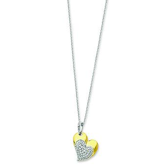 Ster. Silver Accent gold-plating CZ Heart Necklace - 18 Inch