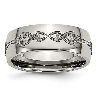 Titanium Engravable Laser Etched 8mm Polished Band Ring - Ring Size: 7 to 13