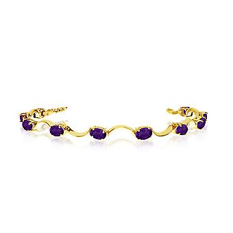 14K Yellow Gold Oval Amethyst Curved Bar Bracelet