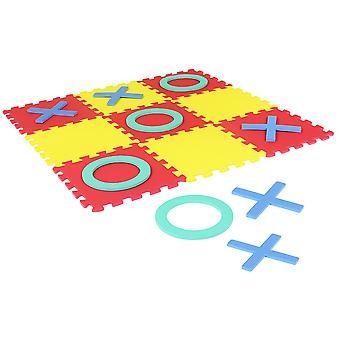 Charles Bentley EVA Foam Play Matting Interlocking Noughts & Crosses Jigsaw Puzzle Play Mat Garden Games H30xW30xD1cm