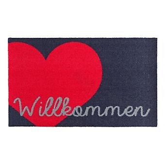 Doormat dirt trapping pad welcome heart blue pink 50 x 70 cm
