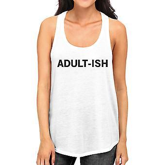 Adult-ish Womens weißen ärmellosen Tank-Top trendige Typografie Top