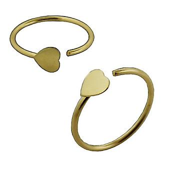 Nose Hoop Ring 14Ct Yellow Gold, Open Nose Hoop Ring, Heart