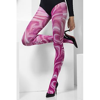 Pantyhose wave pattern pink leggings pink sexy lady
