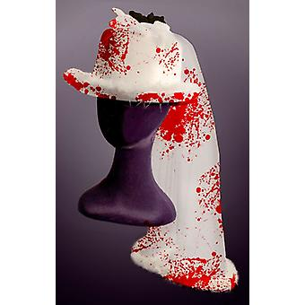 Wedding cylinder with blood Halloween horror Topper hat with veil
