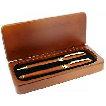 Gift Time Products Deluxe Box with Ballpoint Pen and Roller Ball Pen - Dark Brown/Gold