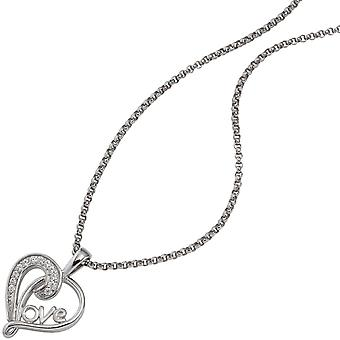 Rhodium-plated 925 sterling silver with cubic zirconia heart pendant pendant heart / LOVE