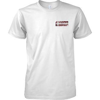Efecto de bandera de Dinamarca Grunge país nombre - niños pecho diseño camiseta