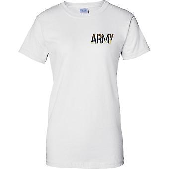 Armee - CamouFlage DPM Wörter - Militär Soldat - Damen Brust Design T-Shirt