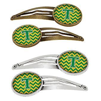 Letter T Chevron groen en goud-Set van 4 haarspeldjes Hair Clips