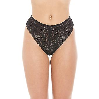 Camille Black Floral Lace Melody Lace Thong