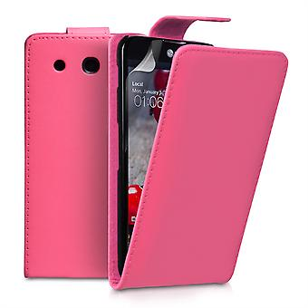 Yousave Accessories LG G Pro Leather-Effect Flip Case - Hot Pink