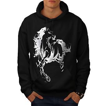 Hest Cool trykt mænd BlackHoodie | Wellcoda