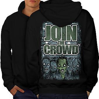 Join The Crowd Men BlackHoodie Back   Wellcoda