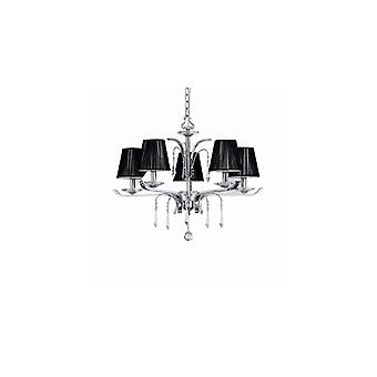 Ideal Lux - Accademy Chrome And Crystal Five Light Chandelier With Black Shades Idl020600