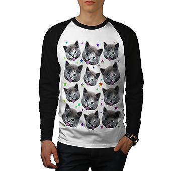 Stars Pattern Funny Cat Men White (Black Sleeves)Baseball LS T-shirt | Wellcoda
