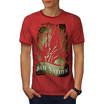 Bob Marley Jah Weed Rasta Men Heather Red / RedRinger T-shirt | Wellcoda