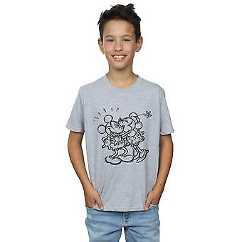Disney Boys Mickey And Minnie Mouse Kiss Sketch T-Shirt
