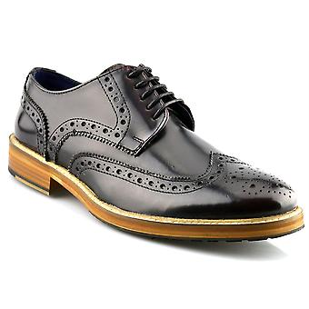 Mens New Leather Wing Capped Brogue Gibson Lace Up Dress Formal Shoes