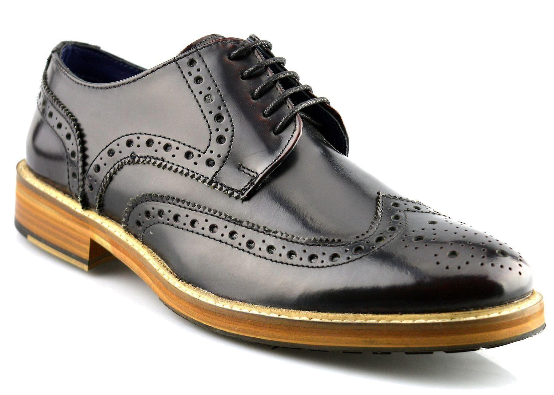 Formal Leather Dress Gibson Wing New Lace Capped Up Shoes Brogue Mens zqaH5