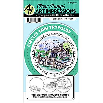 Art Impressions Circlet Mini TryFolds Stamp & Die Set-Cabin 4981