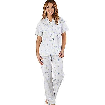 Slenderella PJ1207 Women's Floral Blue 100% Cotton Pajama Short Sleeved Pyjama Set